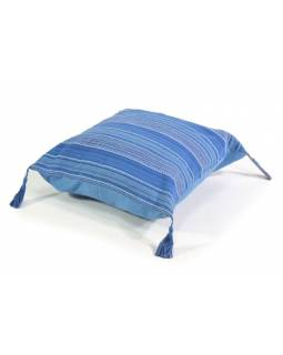 Bavlněný povlak na polštář s třásněmi a protkáváním, modrá, zip, 40x40cm