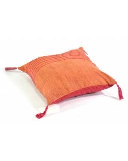 Bavlněný povlak na polštář s třásněmi a protkáváním, oranžová, zip, 40x40cm