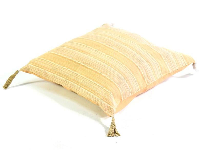Bavlněný povlak na polštář s třásněmi a protkáváním, béžová, zip, 40x40cm