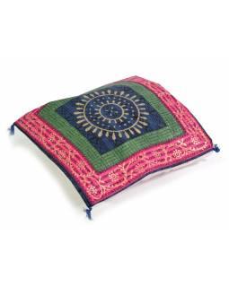 Bavlněný povlak na polštář s ručním potiskem, mandala, 40x40cm