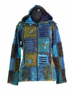 Modrá mikina se špičatou kapucí a prostřihy, barevná výšivka, zip, kapsy