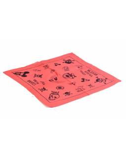 Bavlněný čtvercový šátek s lebkami, červená, 40x40cm