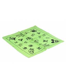 Bavlněný čtvercový šátek s lebkami, zelená, 40x40cm