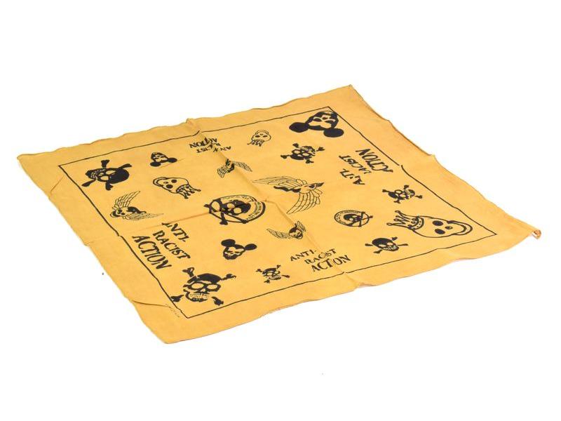 Bavlněný čtvercový šátek s lebkami, žlutá, 40x40cm
