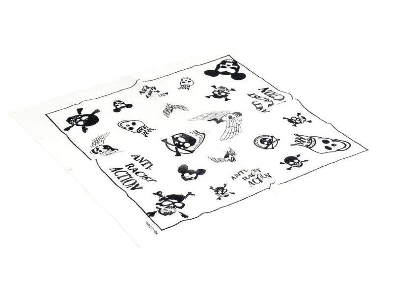 Bavlněný čtvercový šátek s lebkami, bílá, 40x40cm