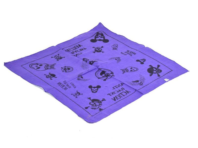 Bavlněný čtvercový šátek s lebkami, fialová, 40x40cm