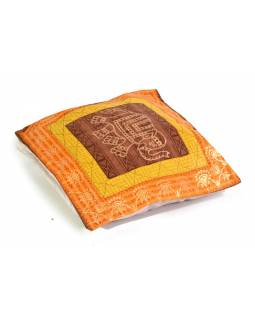 Bavlněný povlak na polštář s ručním potiskem, slon, 40x40cm