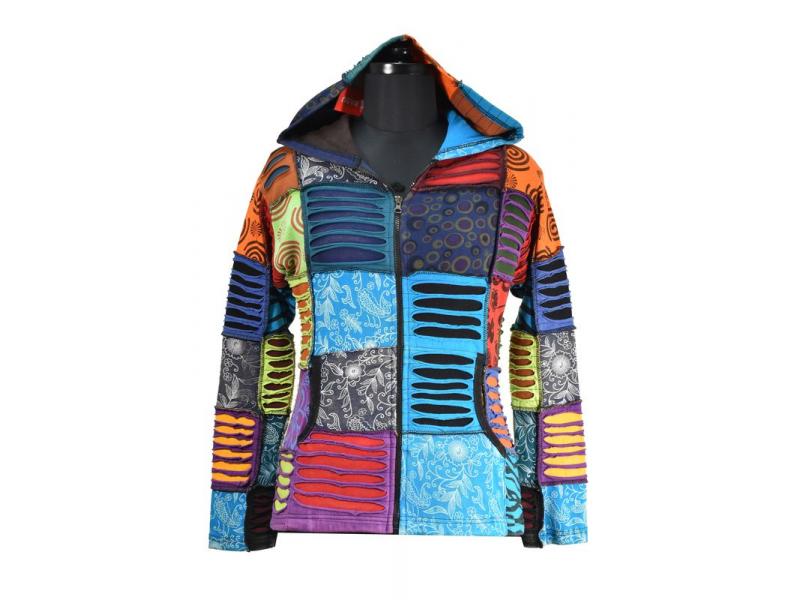 Multibarevná patchworková mikina s kapucí a potiskem, kapsy, zip