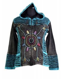 Černo-modrá mikina s kapucí a prostřihy, barevná výšivka, zip, kapsy