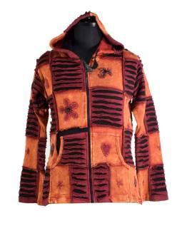 Červená mikina s kapucí a výšivkou, prostřihy, zip, kapsy