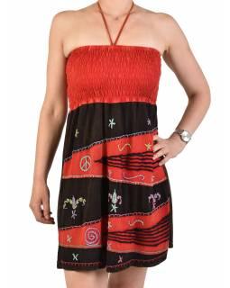 Mini červeno-černé šaty na ramínka, aplikace a barevná výšivka