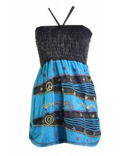 Mini tyrkysovo-černé šaty na ramínka, aplikace a barevná výšivka
