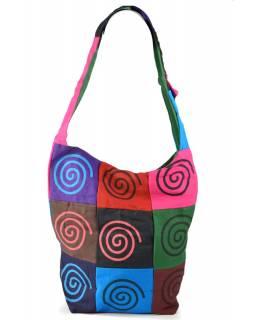 Multibarevná patchworková taška přes rameno s tiskem Spiral, kapsa, zip, 38x38cm