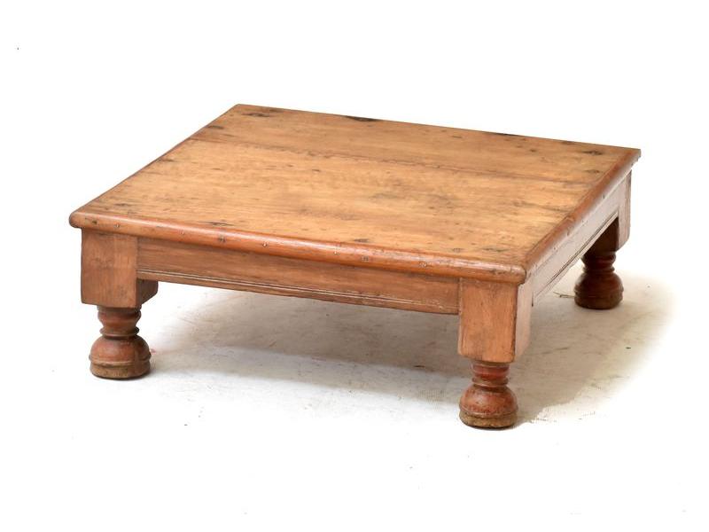 Čajový stolek z antik teakového dřeva, 48x48x18cm