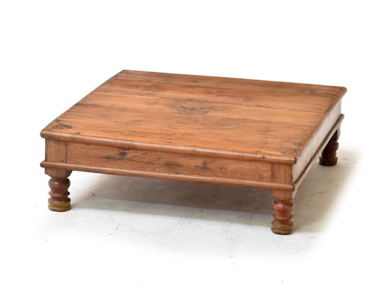 Čajový stolek z antik teakového dřeva, 54x54x20cm