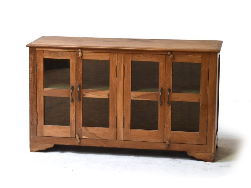 Prosklená skříňka z antik teakového dřeva, 113x39x66cm