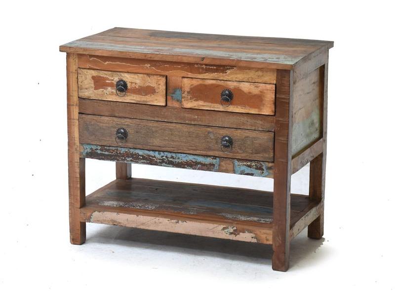 Komodka se šuplíky z antik teakového dřeva, 71x40x60cm