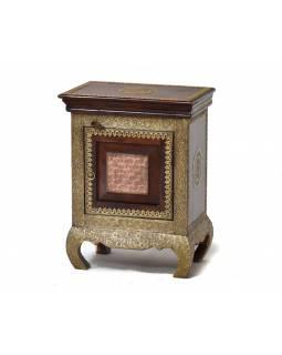 Komodka/noční stolek z palisandru, zdobený mosazným kováním, 45x30x60cm