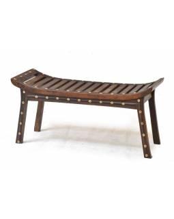 Stolička, žebrování, světlá s mosazným kováním, mango, 102x38x50cm