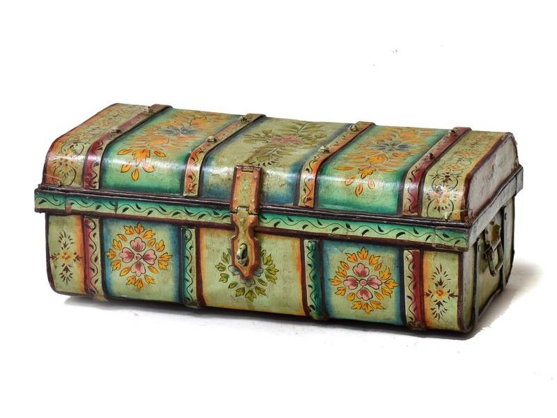 Plechový kufr, antik, tyrkysový, 69x40x26cm