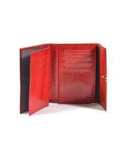 Peněženka, červená, malovaná kůže, kosočtverec, 10x13cm