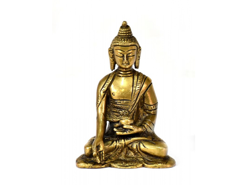 Buddha Ratnasambhava, mosazná soška, zlatá patina, 12x10cm