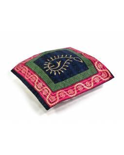 Bavlněný povlak na polštář s ručním potiskem, list, 40x40cm
