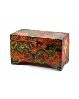 Dřevěná truhlička, tibetský design-drak malovaná, 33x18x17cm