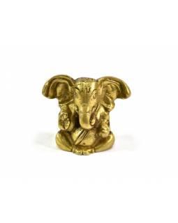 Ganeš, mosazná soška, zlatá úprava, 4x5cm