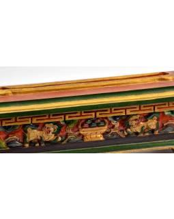 Krabička na pálení vonných tyčinek, vyřezávaná, malovaná, 36x12x10cm