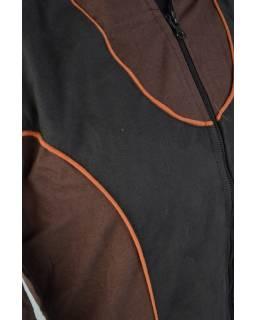 Hnědo černá prodloužená bunda s lemováním, zapínání na zip a kapsy