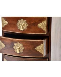 Komoda z palisandrového dřeva s mosazným kováním a šuplíky, 45x40x62cm