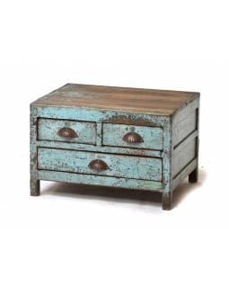 Starý kupecký stolek z teakového dřeva, s šuplíky, 60x44x39cm