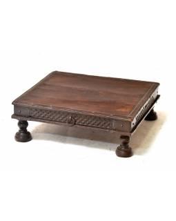 Čajový stolek z antik teakového dřeva s dvířky, 59x56x20cm