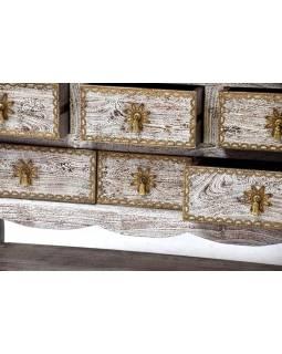 Komoda se šuplíky z palisandru, bílá patina, 120x45x77cm
