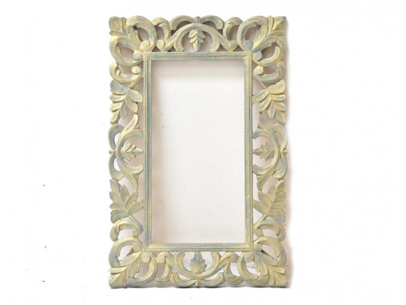 Zrcadlo ve vyřezávaném rámu, tyrkysové, mango, 58x88x3cm