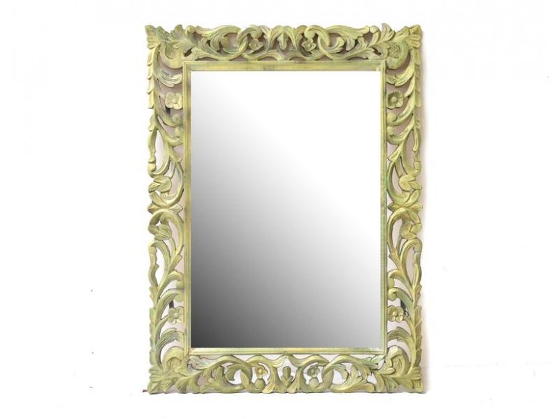 Zlato zelené, ručně vyřezávané zrcadlo z mangového dřeva, 89x119x4cm