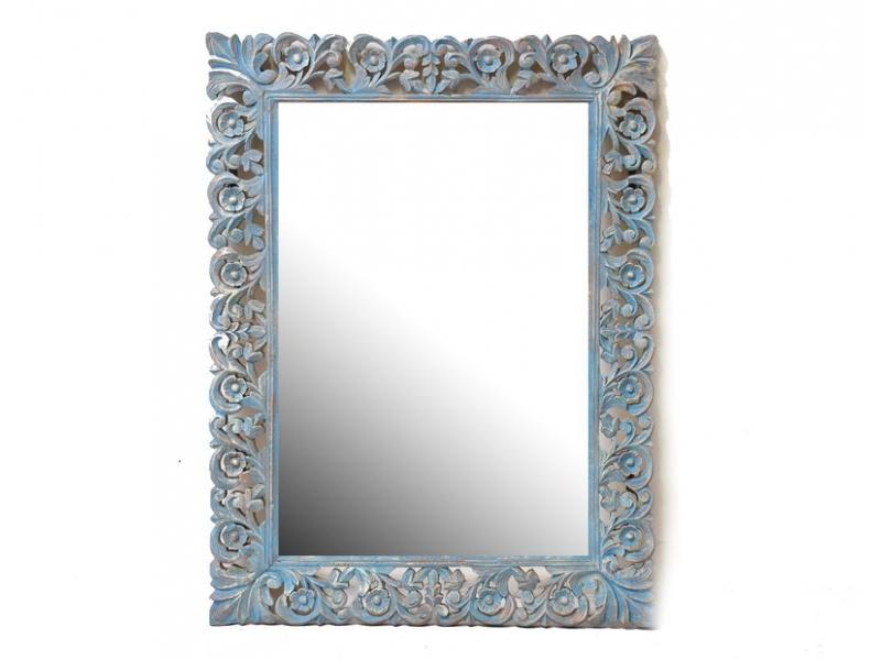 Tyrkysovo stříbno růžové, ručně vyřezávané zrcadlo z mangového dřeva, 90x120x4cm