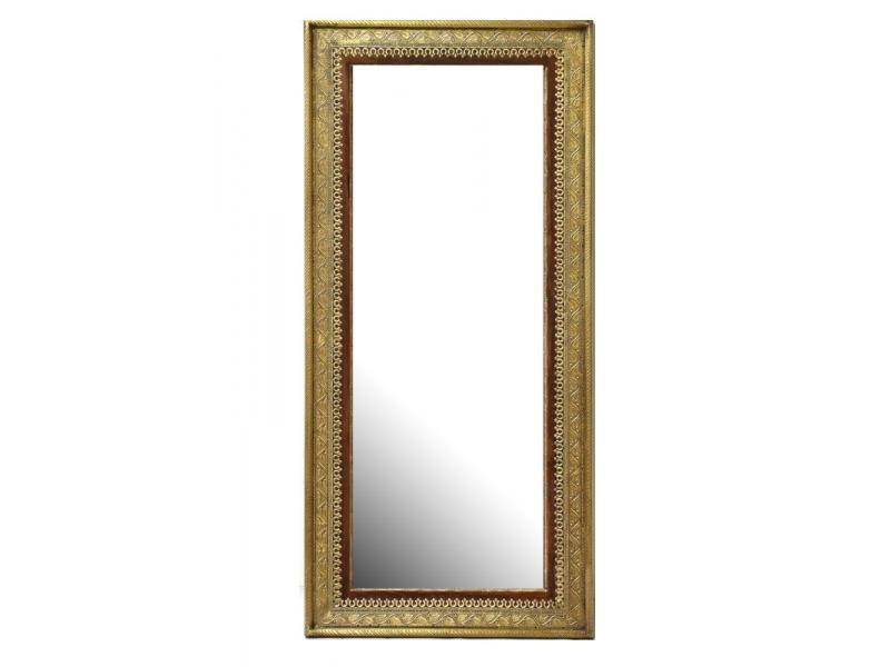Zrcadlo v rámu z palisandrového dřeva, mosazné kování, 130x60x4cm