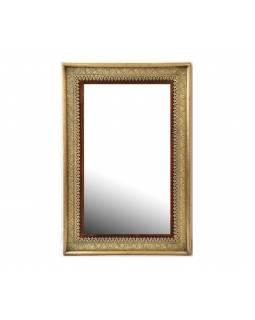 Zrcadlo v rámu z palisandrového dřeva, mosazné kování, 90x60x4cm