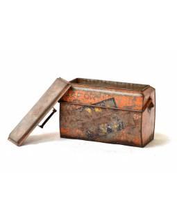 "Plechová lednička ""GOFOR-GOLD SPOT"", antik, 43x22x35cm"