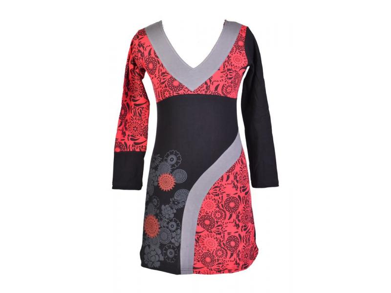 Černo-červené šaty s dlouhým rukávem, květinový potisk, V výstřih