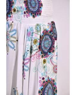 """Elegantní bílé turecké kalhoty s potiskem """"Trellis design"""" žabičkování"""