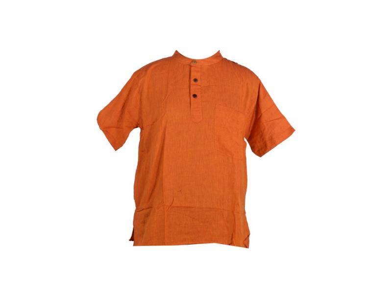 Oranžová pánská košile-kurta s krátkým rukávem a kapsičkou