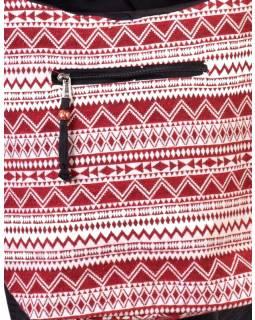 Bavlněná taška přes rameno s potiskem zik zak, kapsa, zip, 38x38cm