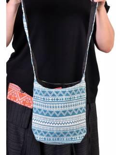 Bavlněná taška přes rameno s potiskem zik zak, kapsa, zip, 25x25cm