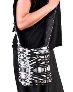 Bavlněná taška přes rameno s potiskem aztec, kapsa, zip, 25x25cm