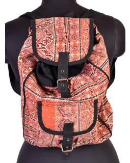 Bavlněný batoh s potiskem, block print, kapsa, cca 38x38cm