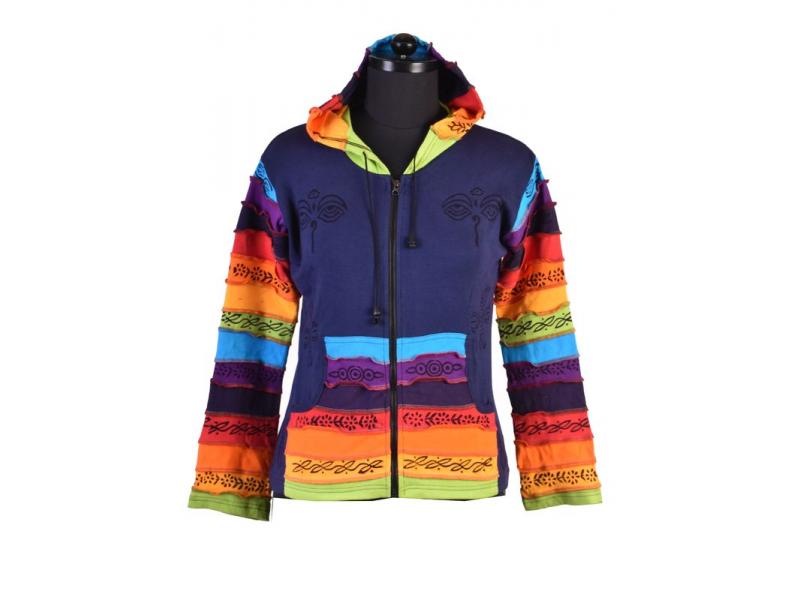 Tyrkysová mikina s kapucí a potiskem Buddha eyes, rainbow design, zip, kapsy