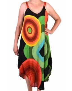 Dlouhé letní šaty na ramínka, černo-barevné